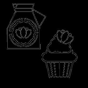 Confezione regalo dei biscotti e dei muffin