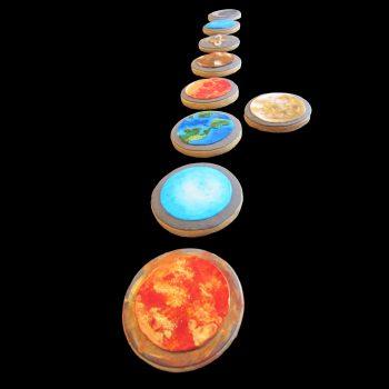 Biscotti a tema pianeti del Sistema Solare decorati in pasta di zucchero