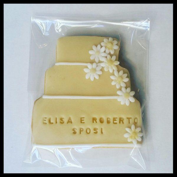 Biscotto mini torta di matrimonio in pasta di zucchero