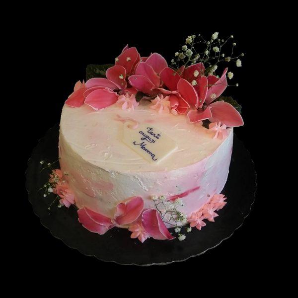 Copertura in panna, fiori freschi e targhetta in pasta di zucchero