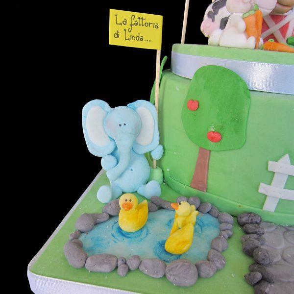 Elefante e paperelle in pasta di zucchero