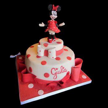 Torta decorata in pasta di zucchero per un compleanno a tema Minnie
