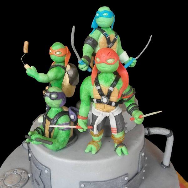 Leonardo, Raffaello, Donatello e Michelangelo in pasta di zucchero
