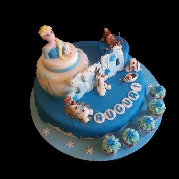Torta decorata in pasta di zucchero per un compleanno a tema Frozen