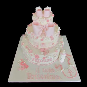 Torta decorata in pasta di zucchero per un Battesimo